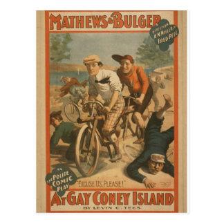 At Gay Coney Island Excuse Us Please Retro Th Postcards