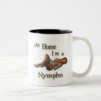 At Home I'm a Nympho Two-Tone Coffee Mug