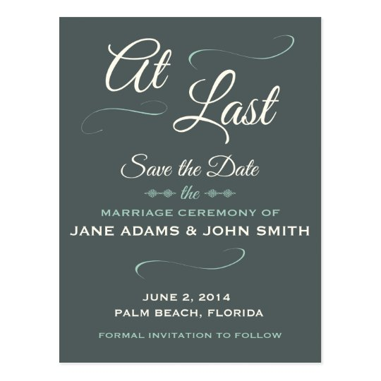 At Last Save The Date Postcard
