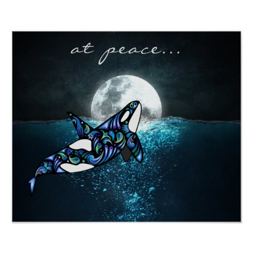 at peace ~ Full Moon Psychedelic Trippy Orca
