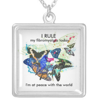 At peace with the world: square pendant necklace