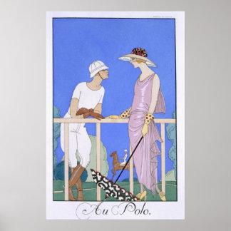 At Polo, 1920-29 (pochoir print) Poster