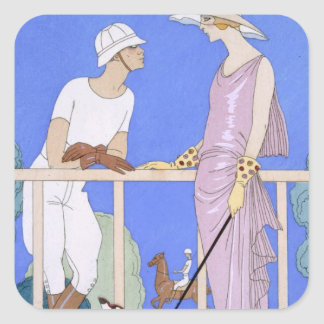 At Polo, 1920-29 (pochoir print) Square Sticker