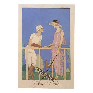 At Polo, 1920-29 (pochoir print) Wood Canvases