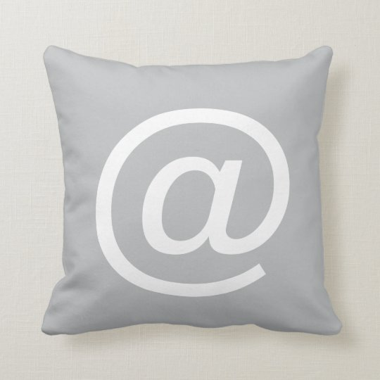 @ (at sign) button pillow, Grey & White