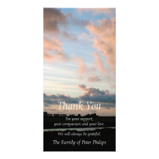 At Sunset - Peaceful Sky -3- Sympathy Thank You Customised Photo Card