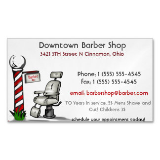 At The Barber Shop Magnetic Business Cards
