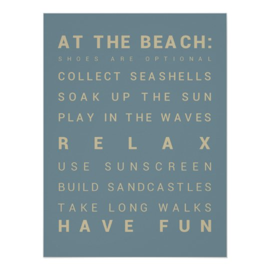 At the Beach - Beach House Rules Poster