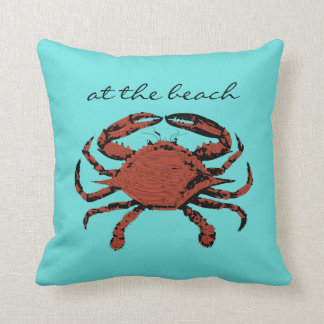 At The Beach Nautical Crab Teal Home Throw Pillows