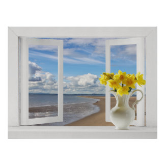 At the Beach -- Open Window View with Daffodils Poster