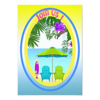 "At The Beach Party Invitations 5"" X 7"" Invitation Card"