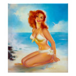At the Beach Pin Up Poster