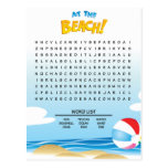 At the Beach Word Search Activity Card Post Card