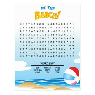 At the Beach Word Search Activity Card Postcard