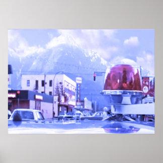 At the bottom of Blue Mountain Snow Season Poster