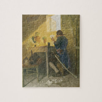 At the Cards in Cluny's Cage by NC Wyeth Jigsaw Puzzle