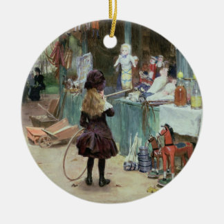 At the Champs-Elysees Gardens, c.1897 (gouache on Christmas Ornament