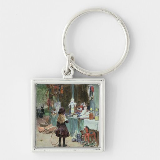At the Champs-Elysees Gardens, c.1897 (gouache on Key Chains