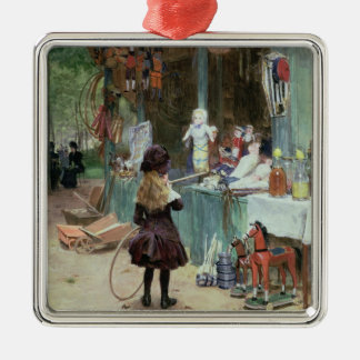 At the Champs-Elysees Gardens, c.1897 (gouache on Silver-Colored Square Decoration