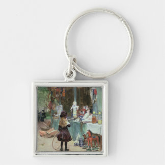 At the Champs-Elysees Gardens, c.1897 (gouache on Silver-Colored Square Key Ring