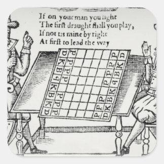 At the Chess Board Square Sticker