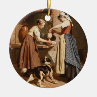 At the Dairy, 1866 (oil on panel) Round Ceramic Decoration