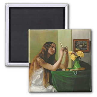 At the Dressing Table, 1911 Square Magnet