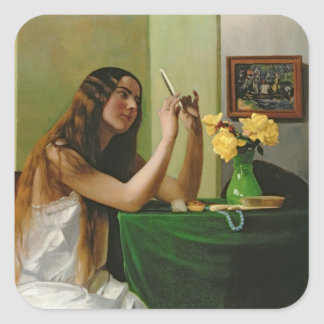 At the Dressing Table, 1911 Square Sticker