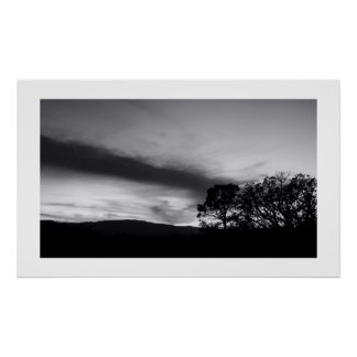 At the Edge of Dusk in B&W Poster
