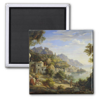 At the Gulf of Salerno, 1826 Square Magnet