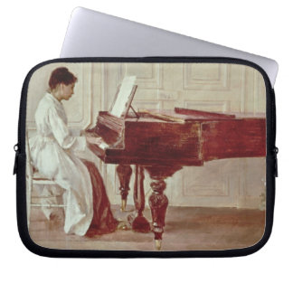 At the Piano, 1887 (oil on canvas) Laptop Sleeve