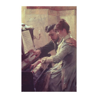 At the Piano Stretched Canvas Prints