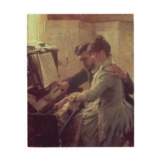 At the Piano Wood Canvas