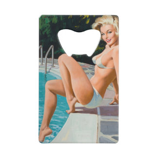 At the pool sexy blonde retro pinup girl