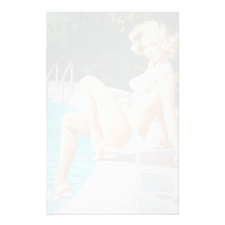 At the pool sexy blonde retro pinup girl personalized stationery