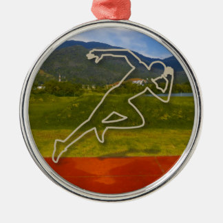 At the Running Track Christmas Ornament