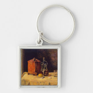 At the Window, 1882 Silver-Colored Square Key Ring