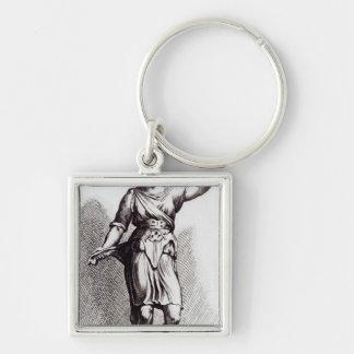 Atalanta, c.1653 Silver-Colored square key ring
