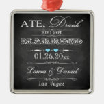 Ate, Drank and Got Married Christmas Keepsake Silver-Colored Square Decoration