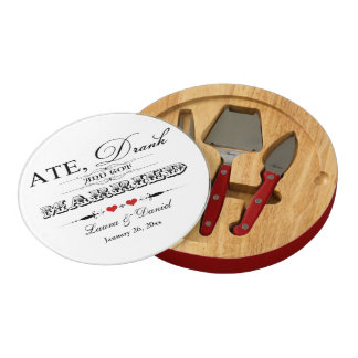 Ate, Drink and Got Married Wedding Cheese Board Round Cheese Board