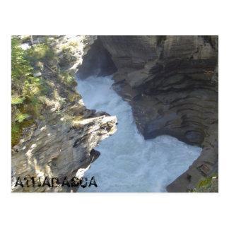 Athabasca falls ripping through the Canyon Postcard