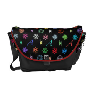Atheism Monogram (bright on black) Messenger Bags