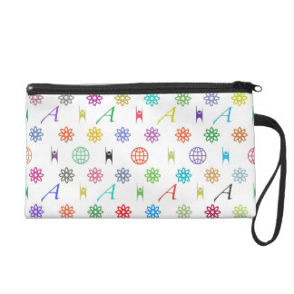 Atheism Monogram (bright on white) Wristlet Bag