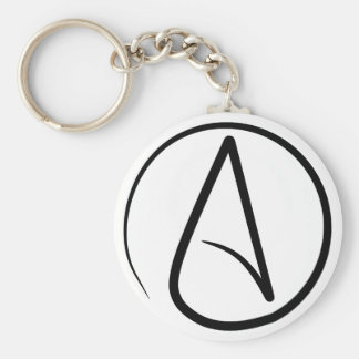 Atheism Symbol Basic Round Button Key Ring
