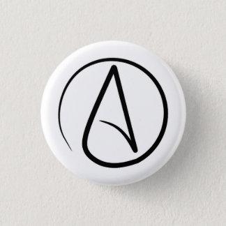 Atheism symbol: black on white 3 cm round badge