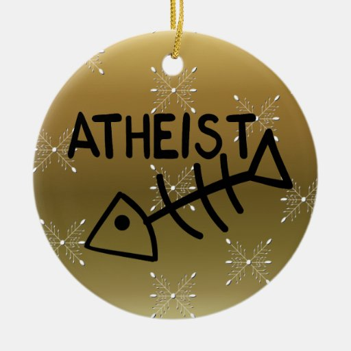 Atheist Fish Double-Sided Ceramic Round Christmas Ornament ...