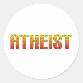 Atheist, hell wire fence style. round sticker
