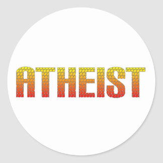 Atheist, hell wire fence style. round stickers