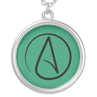 Atheist symbol: black on green round pendant necklace
