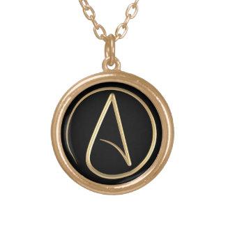 Atheist Symbol Round Pendant Necklace